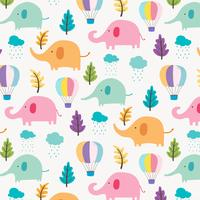 Cute Elephant Pattern Background For Kids. Vector Illustration.