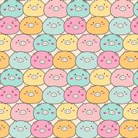 Cute Pig Vector Pattern Background. Handmade Vector Illustration.