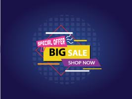 Gran banner de venta, diseño colorido y juguetón. Ilustración vectorial