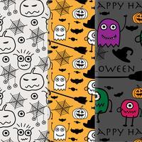 Set of Happy Halloween Pattern Vector Set. Hand Drawn Vector Illustration.