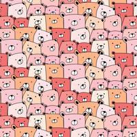 Cute Bear Pattern Background. vector background wallpaper.