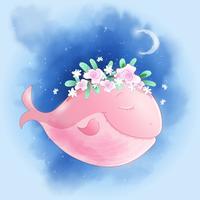 Baleine de dessin animé mignon dans le ciel avec affiche imprimée carte postale maison roses pour la chambre des enfants.