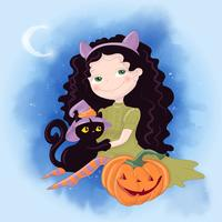 Cute cartoon illustration with girl witch. Postcard poster print for the holiday Halloween.