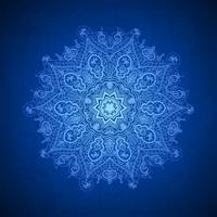 Abstracte vectorcirkel bloemen siergrens. Kantpatroon ontwerp. Wit ornament op blauwe achtergrond. Vector siergrenskader. Kan worden gebruikt voor banner, webdesign, trouwkaarten en anderen
