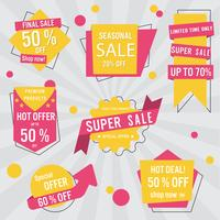 Set of sale labels and banner. Colorful design.