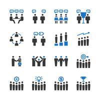 Conjunto de iconos de trabajo en equipo de negocios. Ilustración de vector