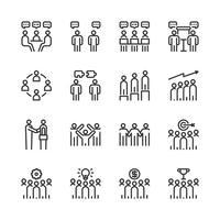 Conjunto de ícones de trabalho em equipe de negócios. Ilustração vetorial