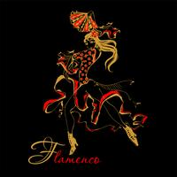 Flamenco Spanish dancer woman vector illustration. The black background.