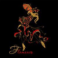 Flamenco Spaanse danseres vrouw vectorillustratie. De zwarte achtergrond.