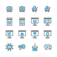 Online shopping icon set.Vector illustration