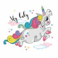 Magic unicorn.My baby.  Fairy pony. Rainbow mane. Cartoon-style. Vector.