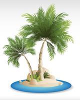 Vectores de mar de verano con palmeras
