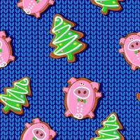 New year pattern. Pig gingerbread. 2019. Vector illustration