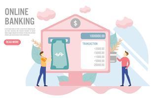 Online Banking koncept med character.Creative platt design för webb banner