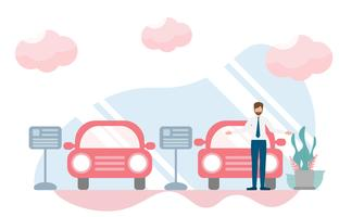 Salesman in car showroom, showroom dealership store concept with character.Creative flat design for web banner