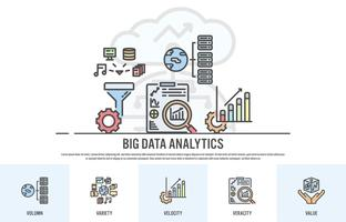 Webdesign mall med fyllda linje ikoner av stora data koncept - Vektor illustration