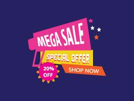 Mega sale banner,  Vector illustration