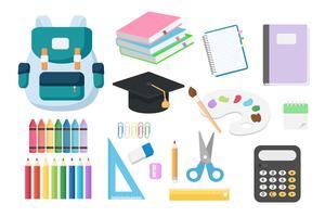 RGBSet básico de volta aos objetos da escola isolados no fundo branco que incluem do livro, do livro de nota, do lápis pastel, do saco, da calculadora, do scissor e da régua. Conceito de ilustração vetorial para novos alunos do semestre.