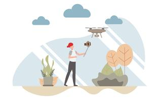 Vlog concept with character, A man holding camera selfie video blog with a drone copter.Creative flat design for web banner