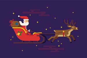 Santa Claus flying in red sleigh