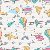 Cute seamless pattern with air transportation