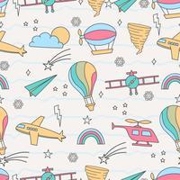 Söt sömlöst mönster med lufttransport