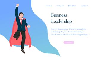 Business leadership as a hero concept for successful, achievement and the winner manager in business competition. Flat design characters vector illustration.