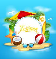 Summer Background with Sea, Island, Beach, Umbrella, Coconut Cocktail