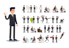 Oficinista gestos, acciones y poses. vector