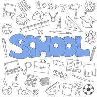 Hand drawn doodle of school set