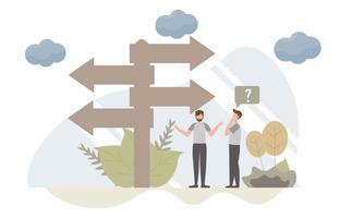 Entscheidungsfindungskonzept mit Charakter Kreatives flaches Design für Netzfahne