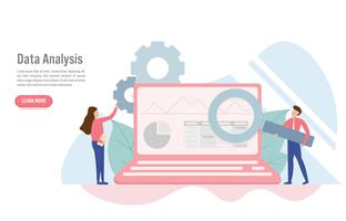 Dataanalyskoncept med tecken. Kreativ platt design för webb banner
