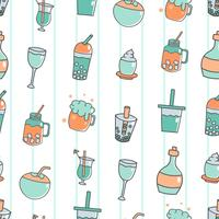 Cute seamless pattern with beverage