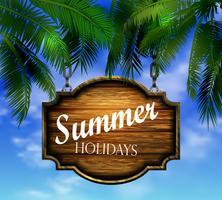 cartel de madera de verano en el fondo de la playa tropical