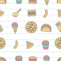 Cute seamless pattern with fastfood