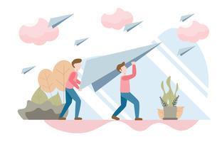 Concetto di successo aziendale con carattere. Design piatto creativo per banner web