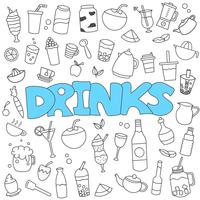 Hand drawn doodle of beverages set