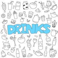 Doodle desenhado de mão de conjunto de bebidas