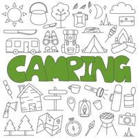 Hand drawn doodle camping set