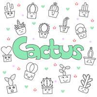Ensemble de cactus mignon doodle dessiné à la main