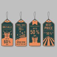 Conjunto de rótulos de venda e banner. Design retro.