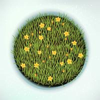 Green spring grass round design element