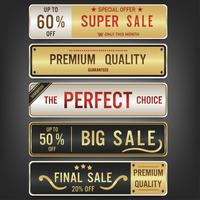 Set of sale labels and banner. Luxury golden design.