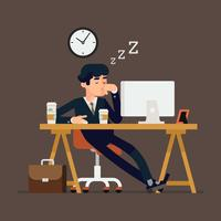 Office worker sleeping at work vector