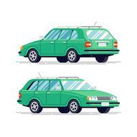 Vehículo hatchback, vista trasera y frontal.