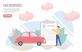 Car insurance concept with character.Creative flat design for web banner