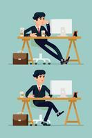 Trabajador de oficina en servicio gestionando tareas diarias.