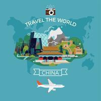 Modello di manifesto di destinazione viaggio Cina