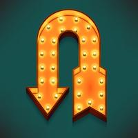 Vector realistic 3d volumetric icon on marquee sign u-turn arrow lit up with electric bulbs