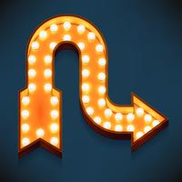 Vector realistic 3d volumetric icon on marquee sign winding arrow looking right lit up with electric bulbs